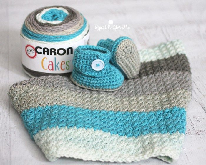 Caron Cakes Yarn Button Baby Booties and Blanket - Repeat Crafter Me ...