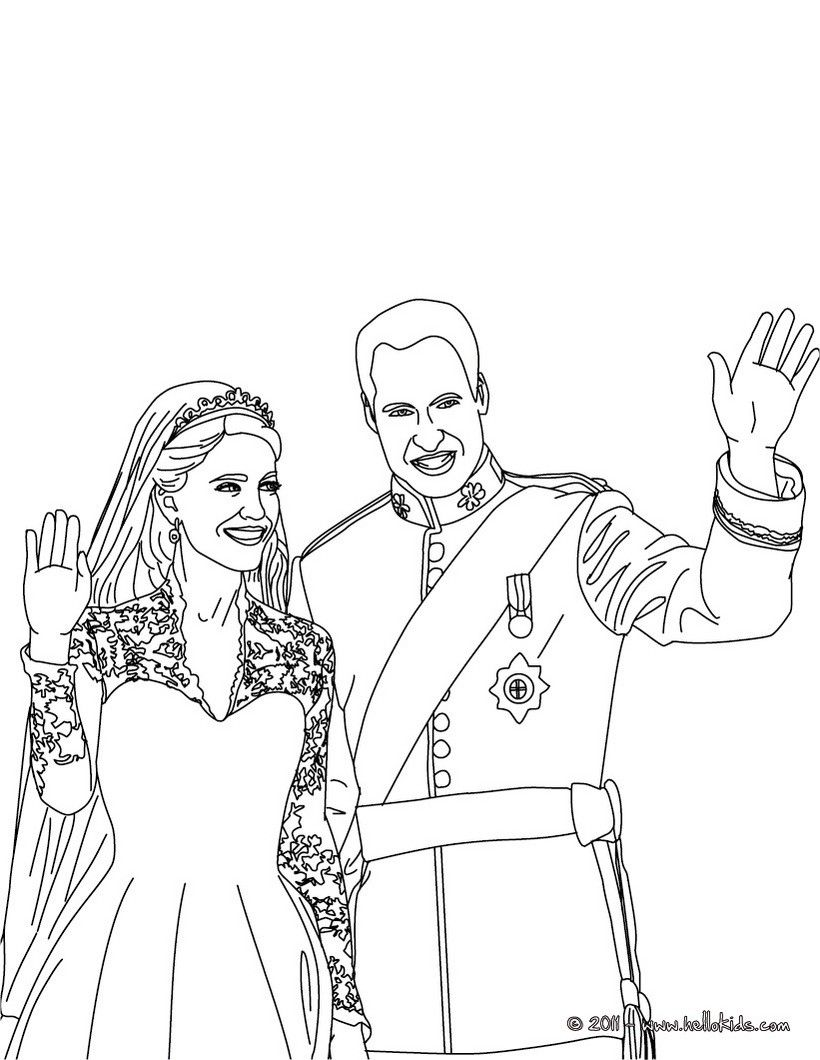 Prince William And Kate Coloring Page More Famous People Coloring Sheets On Hellokids Com