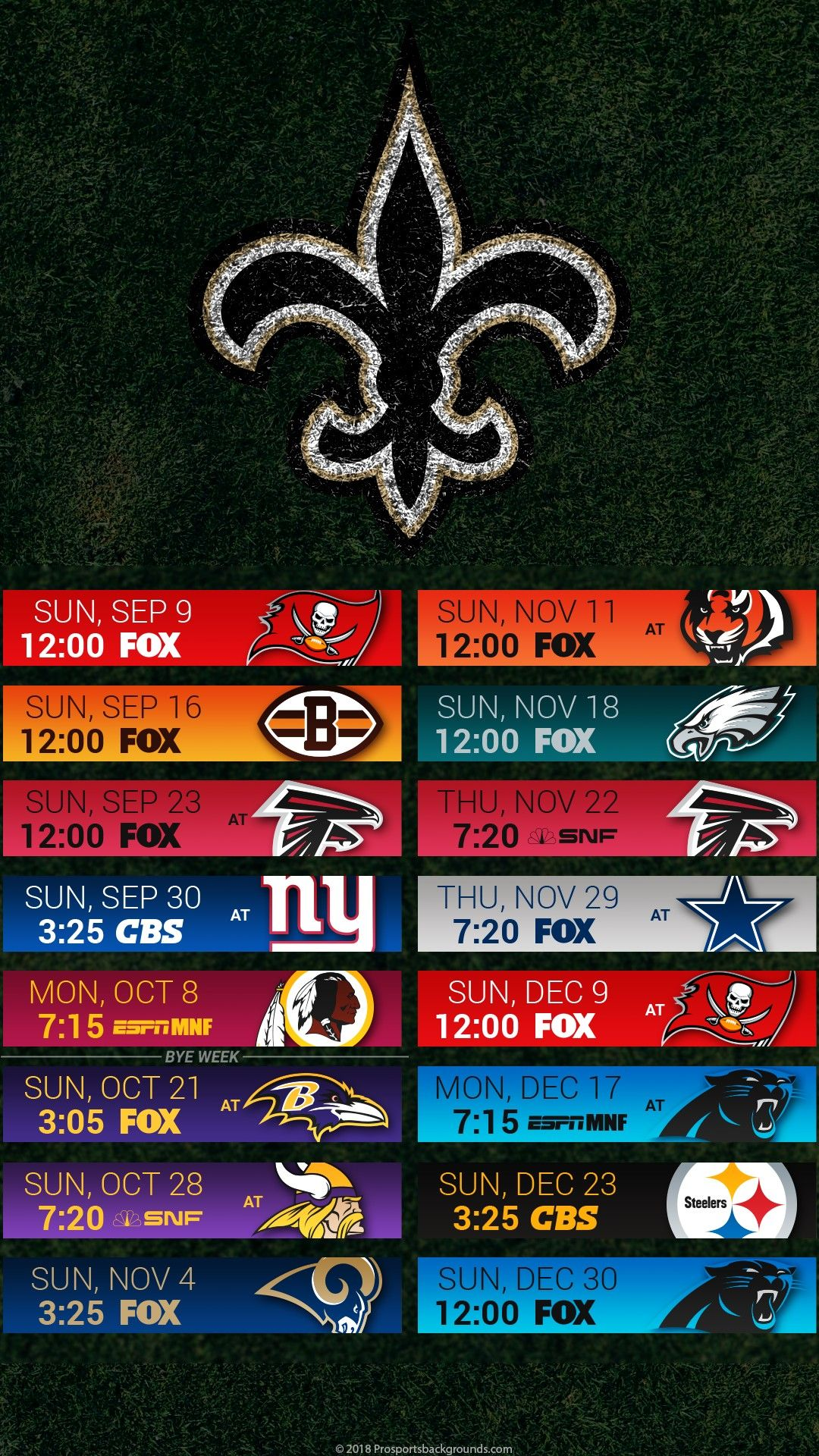2018 New Orleans Saints I-Phone & Android Wallpaper Schedule. #Whodat