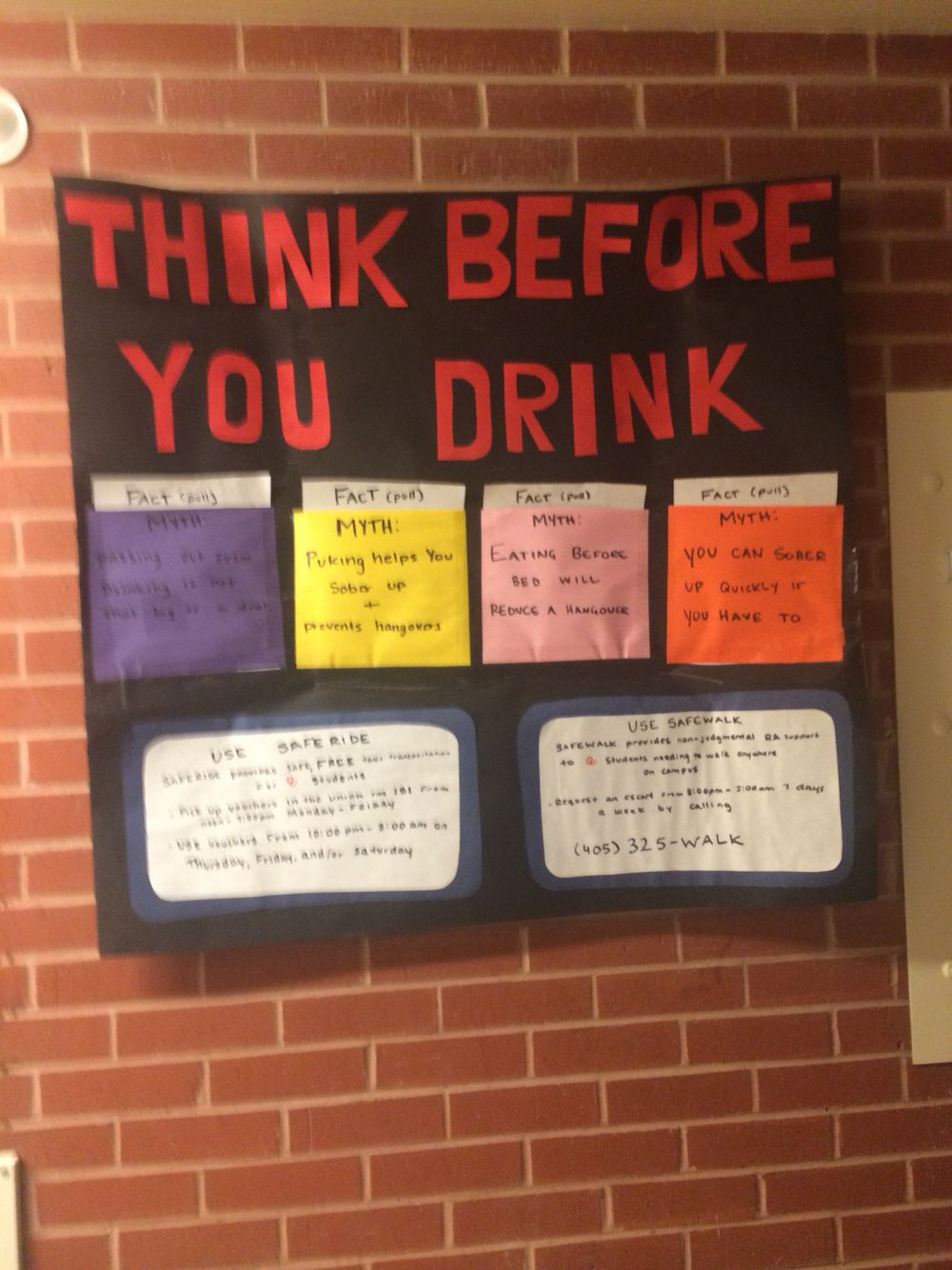 RA bulletin board. Passive. Alcohol awareness myths and facts. Include information pertinent to your university at the bottom!