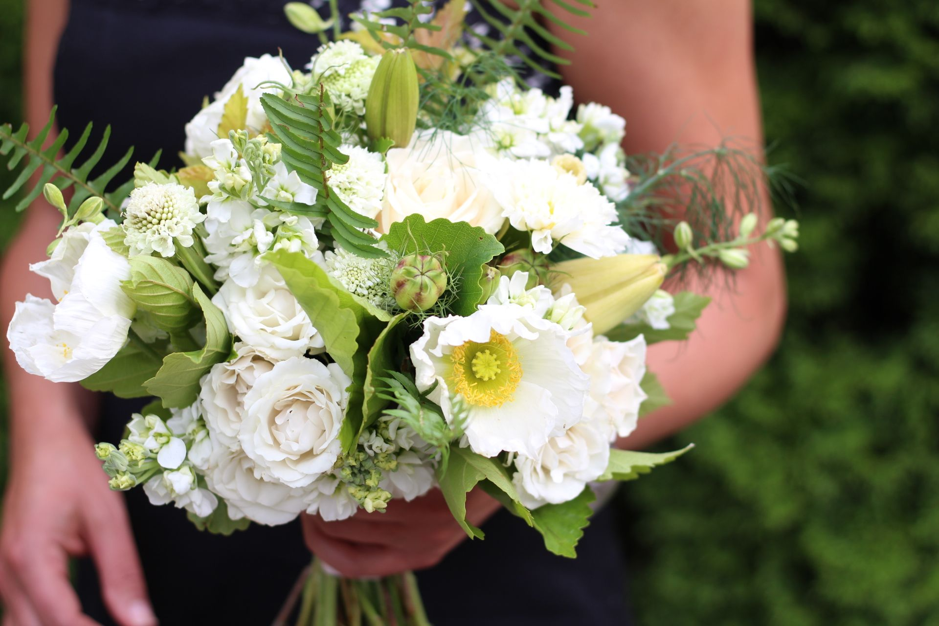 White And Green Bridal Bouquet With Poppy Roses Ferns And Stock