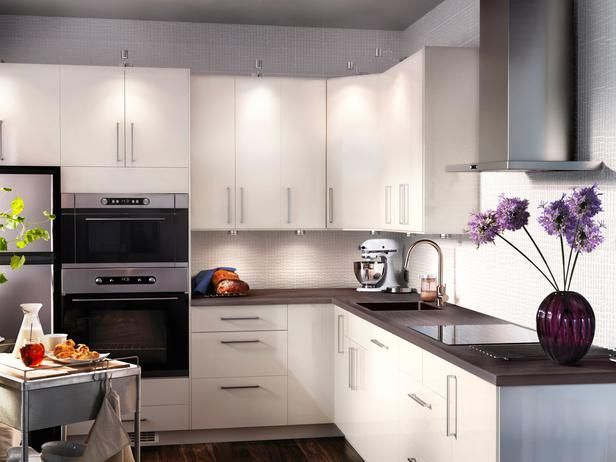 Fabulous Kitchen In Exotic Home Interior Design Ideas With Glossy White  Kitchen Cabinets