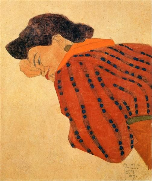 "egonschiele-art: ""  Reclining Woman with Red Blouse (1908) Egon Schiele """