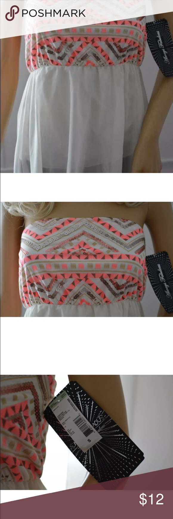 NWT Almost Famous sequined summer tube top! Brand new with tags. Size small. Almost Famous Tops