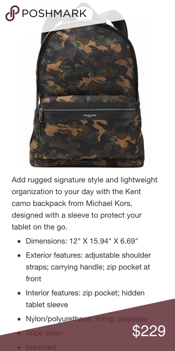 5dc14bedaba1 Michael Kors Kent Camouflage camo backpack -excellent preowned condition,  looks new Bundle of; offers always welcome! Michael Kors Bags Backpacks