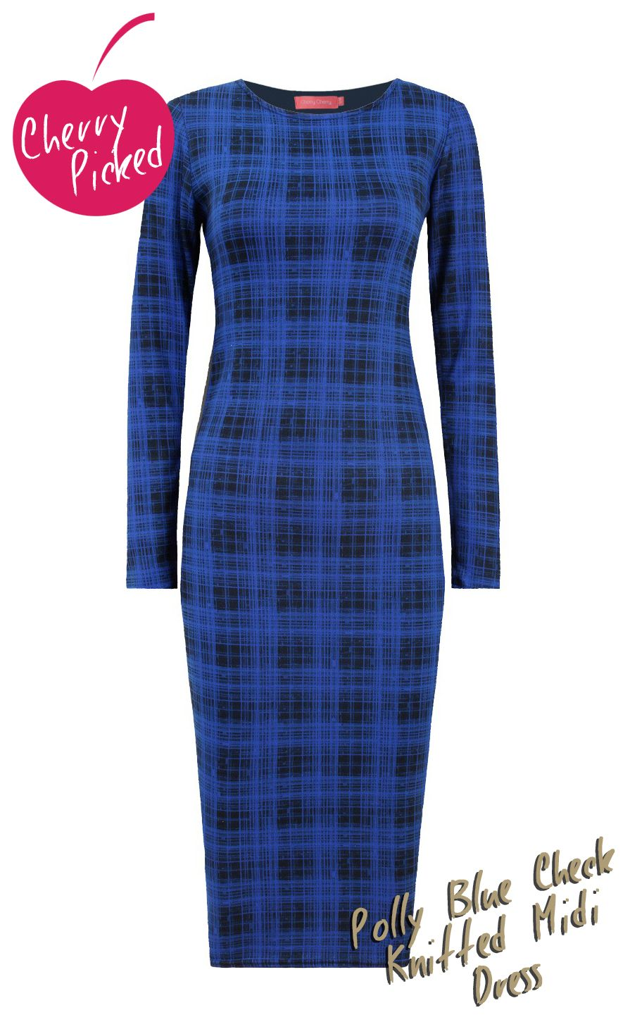 Looking for a new season dress to take you from work to bars without compromising on warmth or style...look now further than this new in midi! In a soft stretch knitted material with long sleeves and all in this seasons checks - it's the perfect option! In blue, red or coffee! #cherrycherry   #cherrypicked   #check   #mididress   #checkeddress   #checkprint
