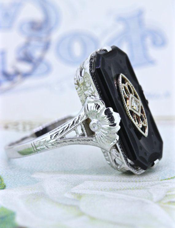 2294af0d8e3c8 Antique Carved Black Onyx Filigree Ring | 1930s Art Deco Gemstone ...