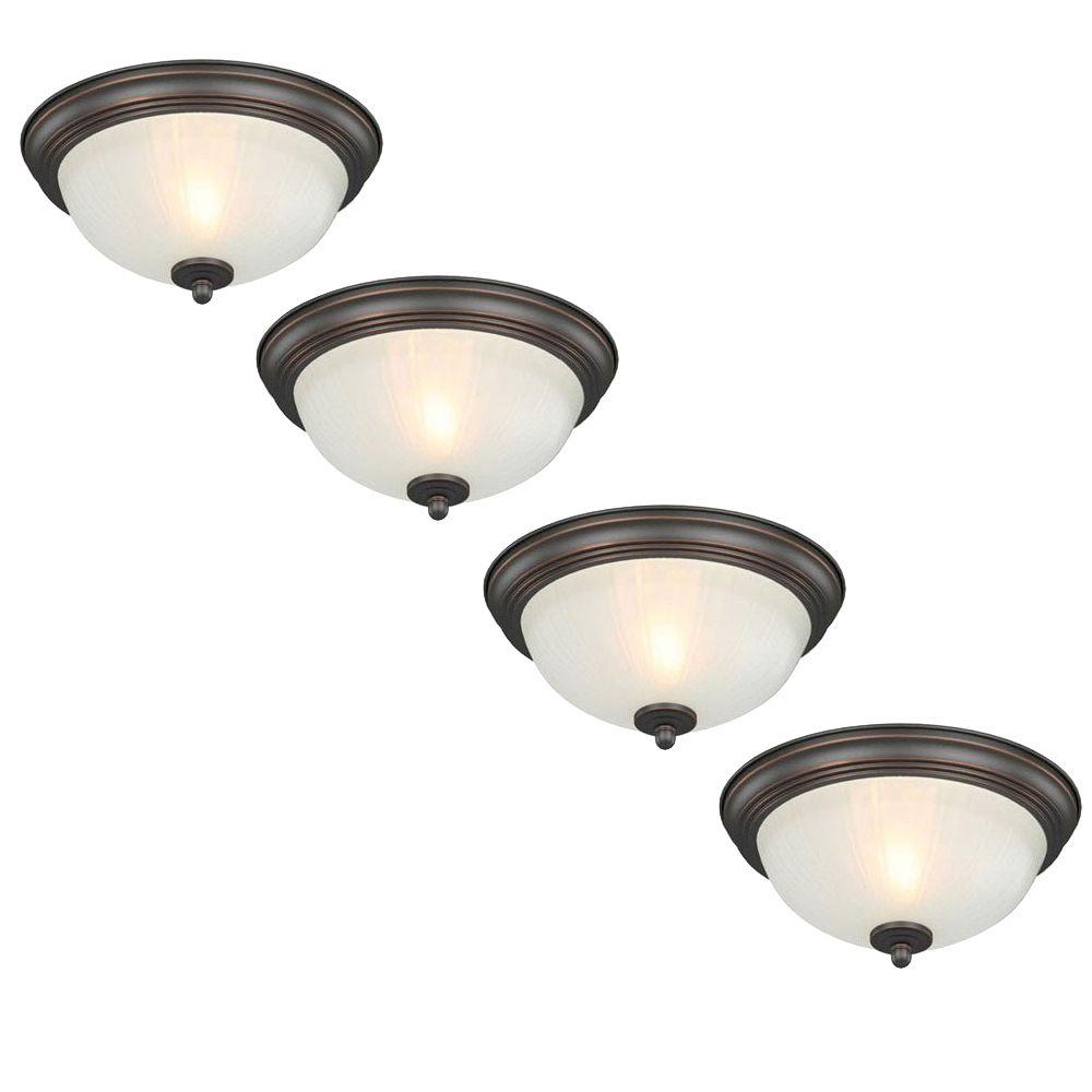 Commercial Electric 11 In 1 Light Oil Rubbed Bronze Flush Mount With Frosted Melon Glass Shade 4 Pack Hqv8011a Orb The Home Depot Oil Rubbed Bronze Flush Mount Bronze Lighting Flush Mount Ceiling Lights