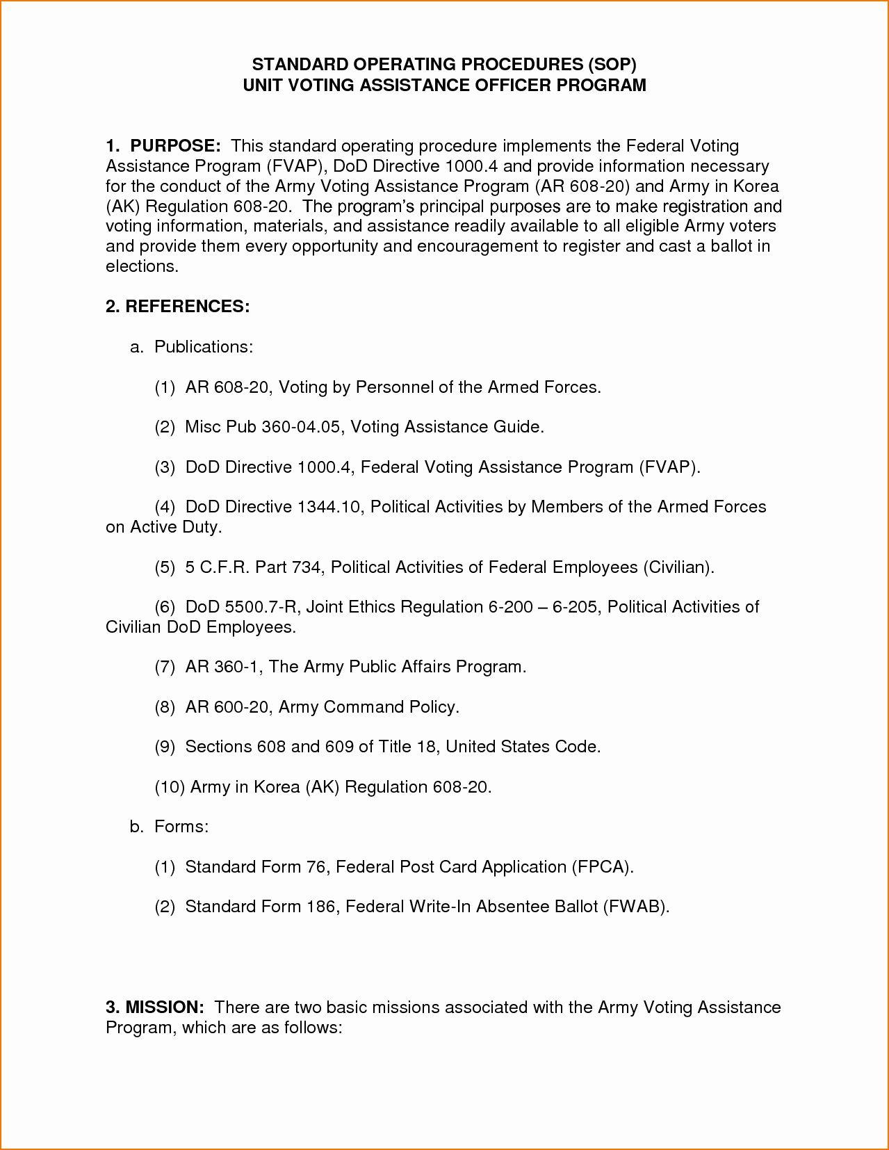 Military Sop Format Elegant 5 Sop Example In 2020 Standard