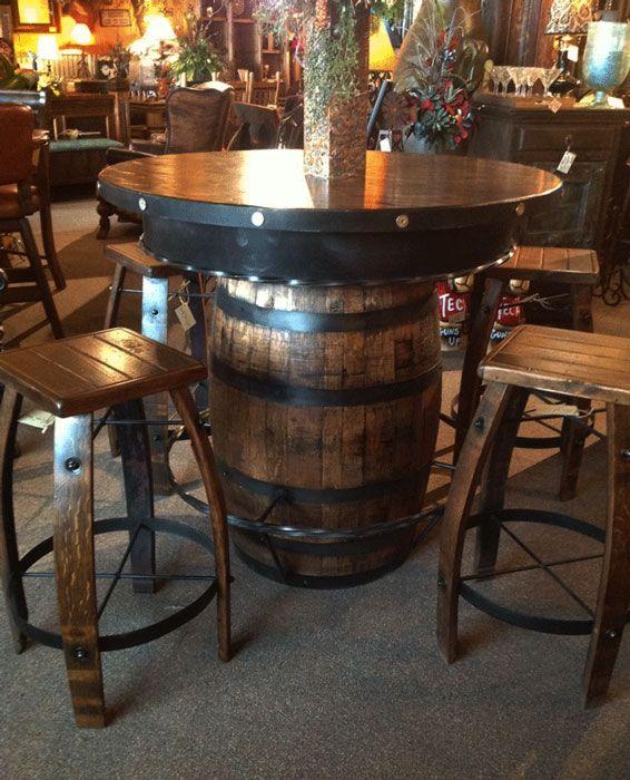 Rustic Pub Table Whiskey Barrel Pub Table Western Bar Barril Casas
