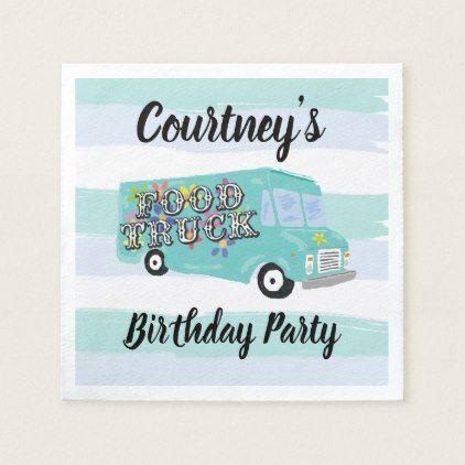 Teal Blue Foodtruck Birthday Party Custom Napkin | Zazzle.com