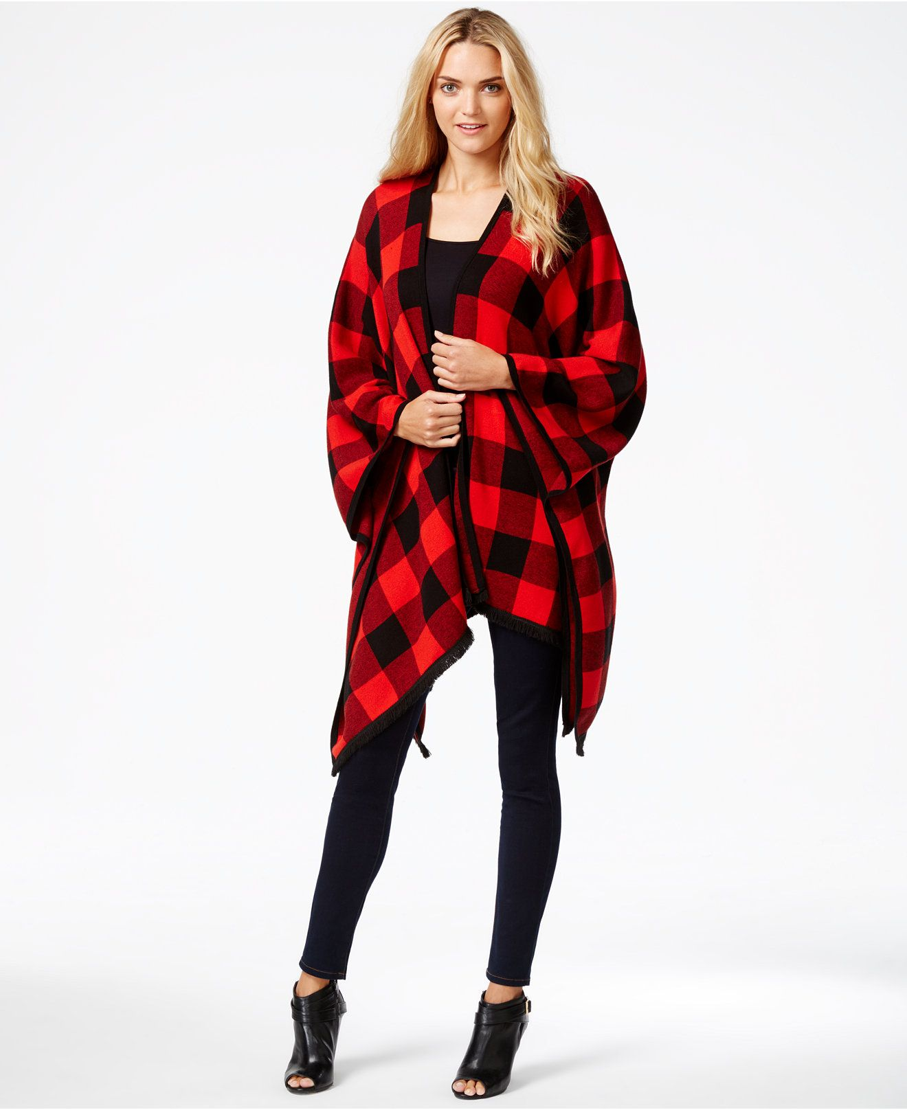 d583142c5 kensie Checkered Open-Front Poncho, a Macy's Exclusive Style - Statement  Sweaters - Women - Macy's