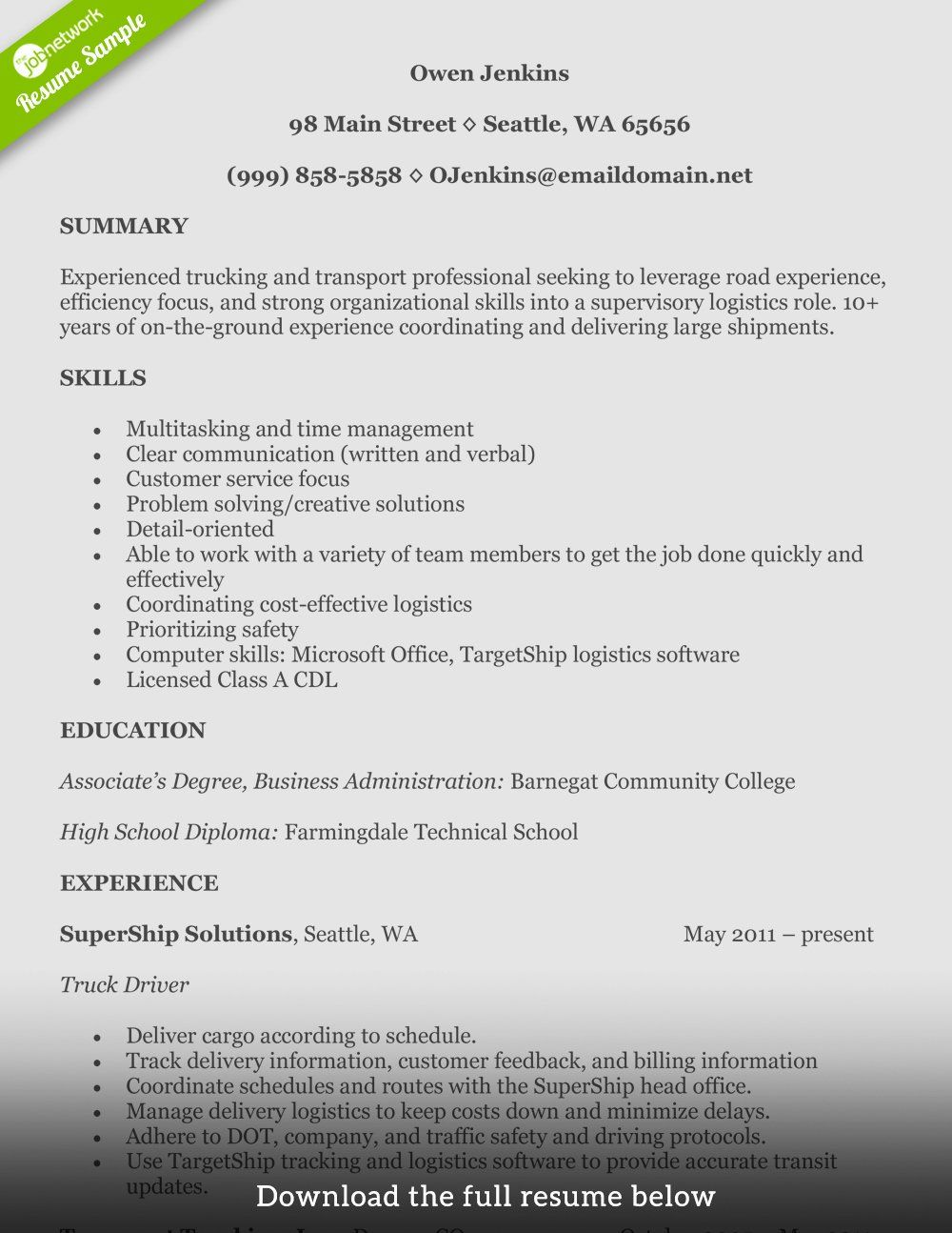 30 Truck Driver Resume Pdf Resume examples