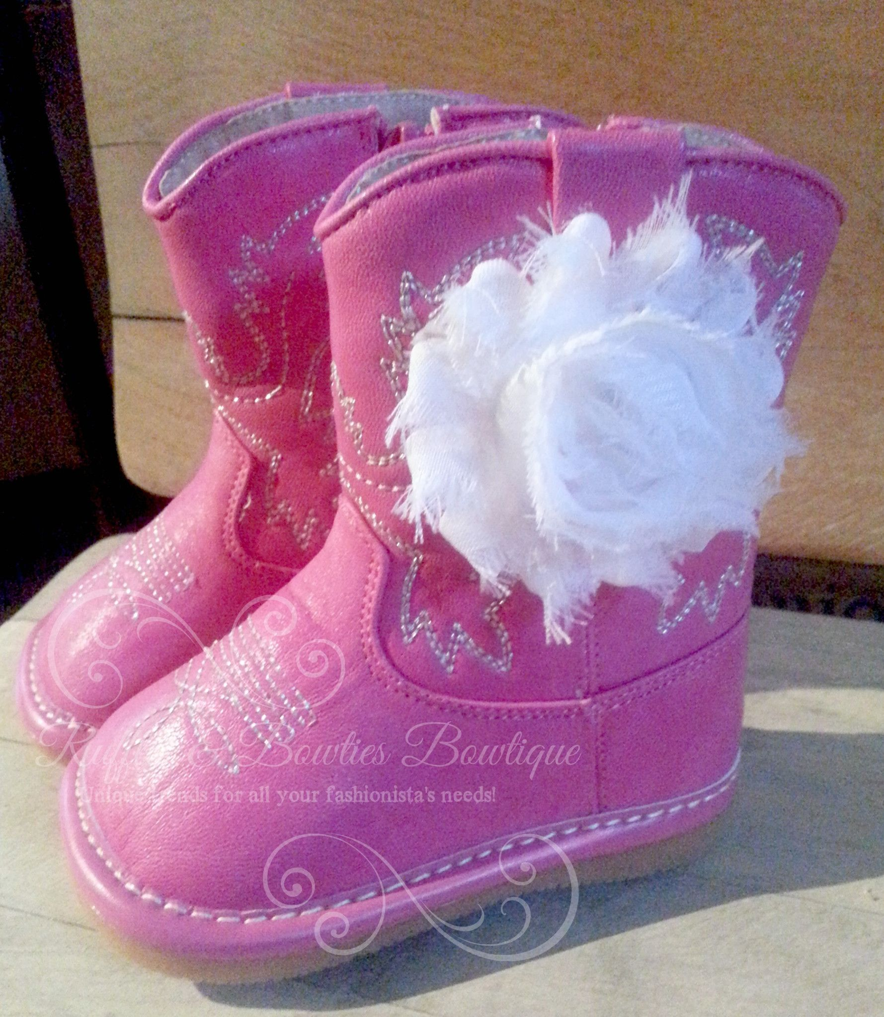 NO FLOWER Hot Pink Leather Squeaky Cowgirl Cowboy Boots With White