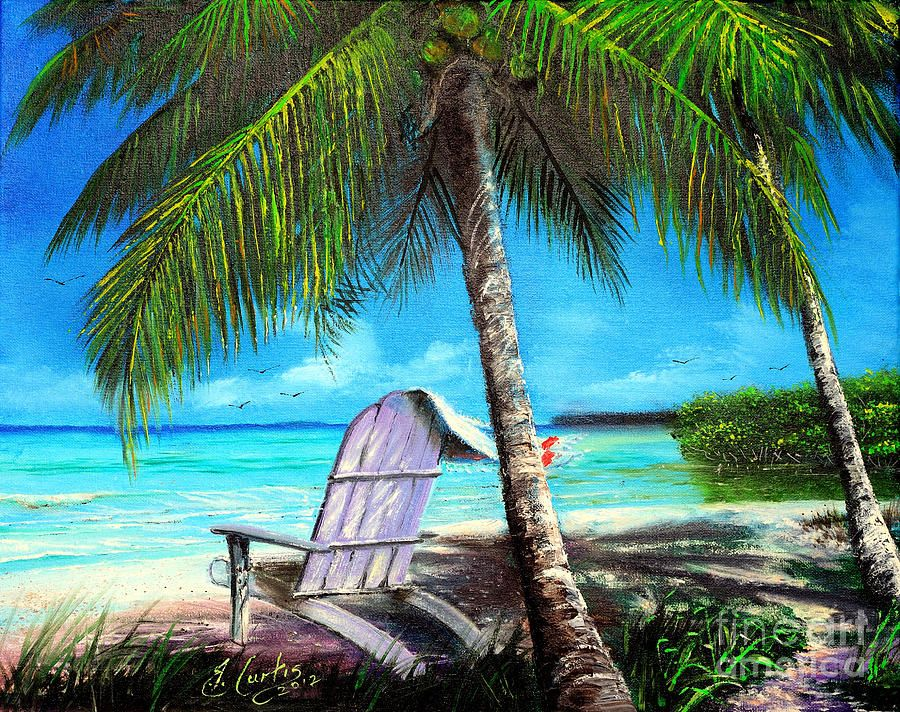 Chair under a palm tree canvas print canvas art by earl
