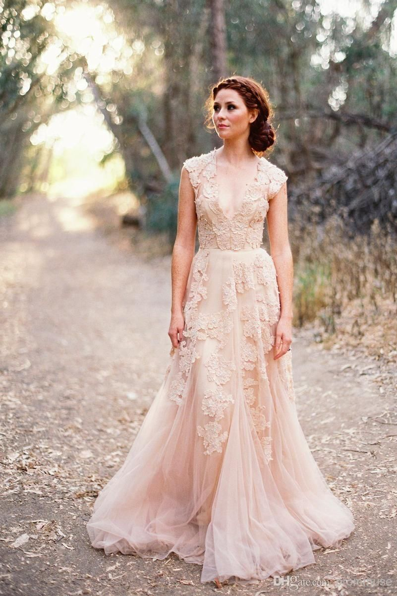 Cheap Vintage Wedding Dresses Cap Sleeve Lace 2017 Champagne Ruffles Beach Gowns Deep V Neck Reem Acra Bridal As Low 14438