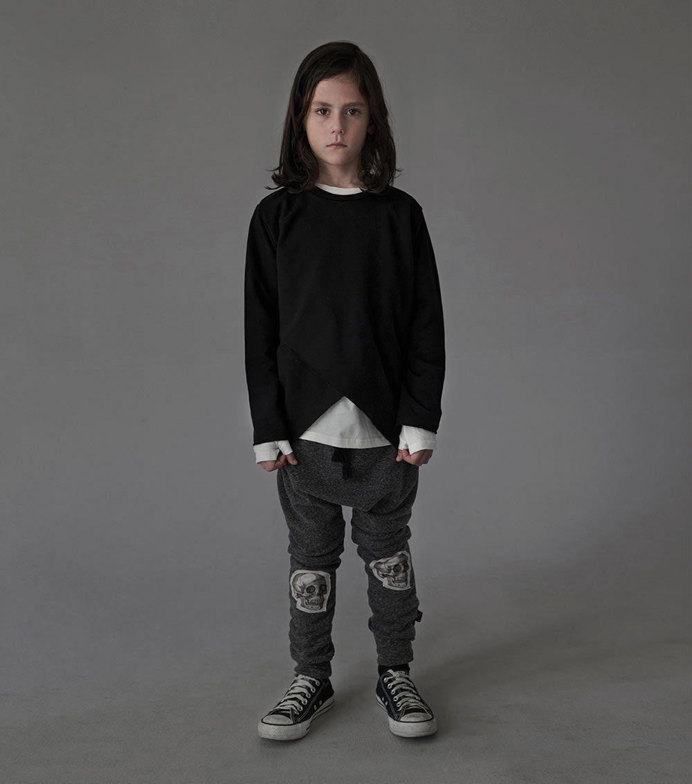 Nununu Patch MD Skull Baggy Pants in Black | Scandi Mini