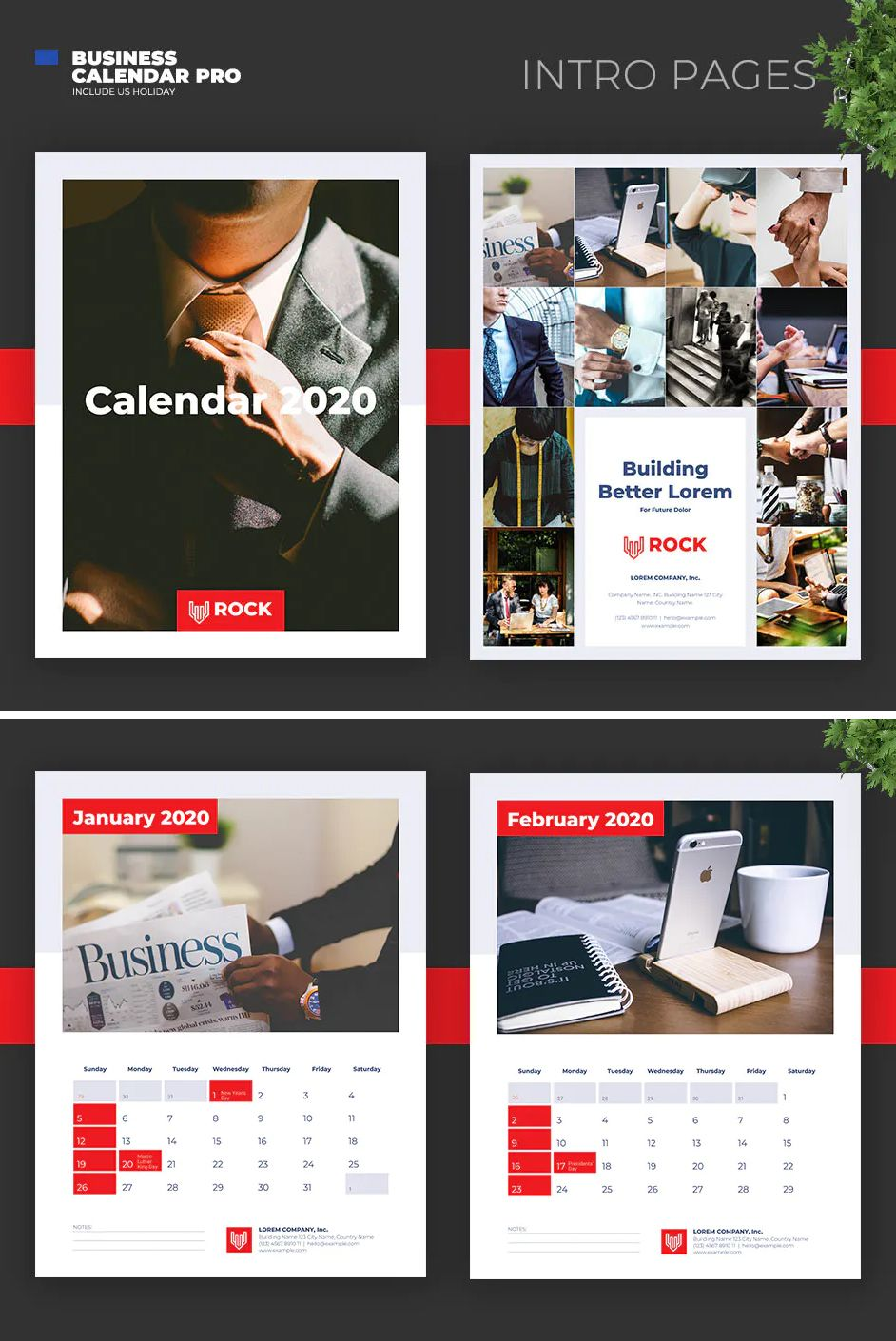 2020 Clean Business Calendar Template with US Holiday in