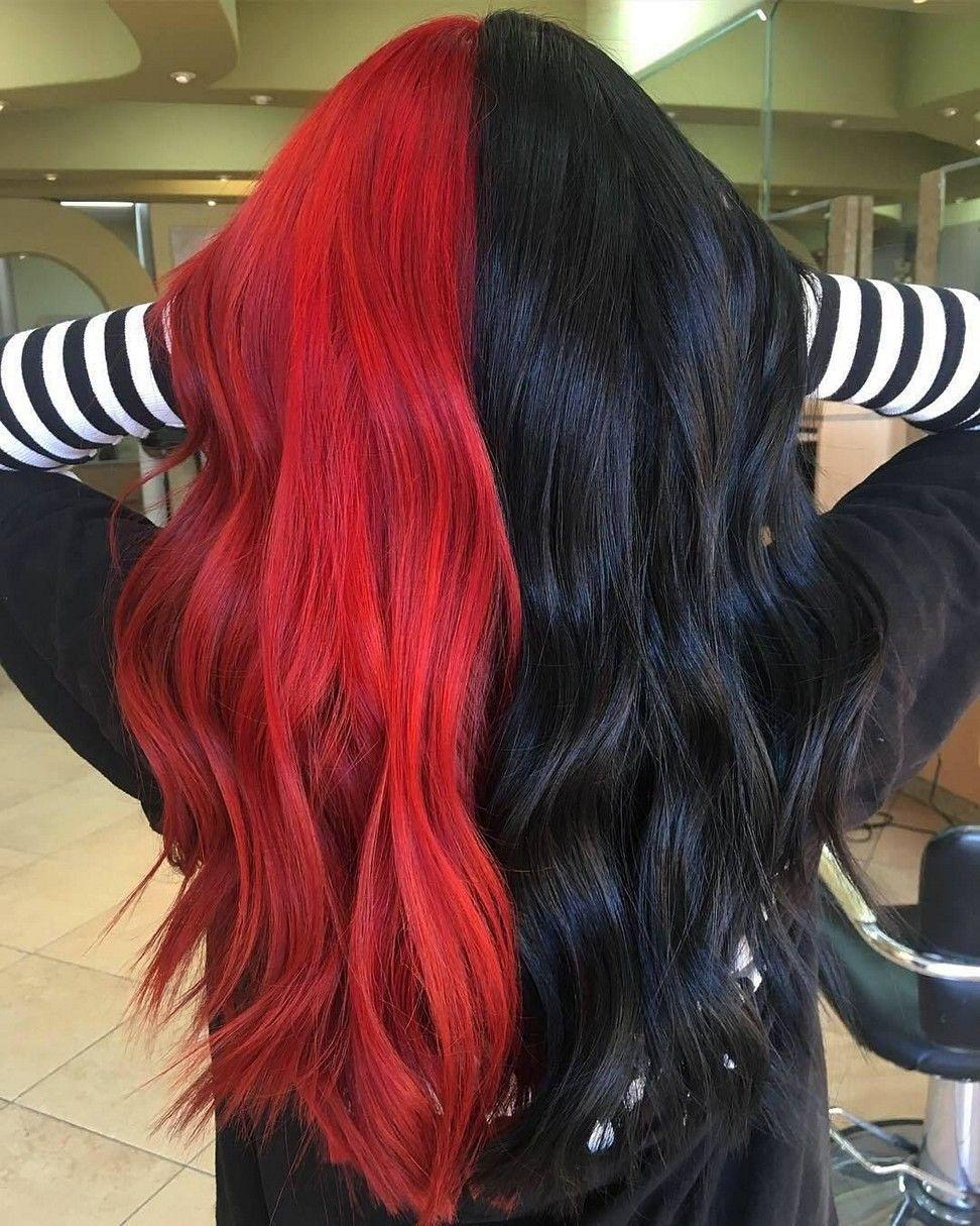 Split Hair Dye Hairstyles In 2020 Hair Color For Black Hair Split Dyed Hair Aesthetic Hair