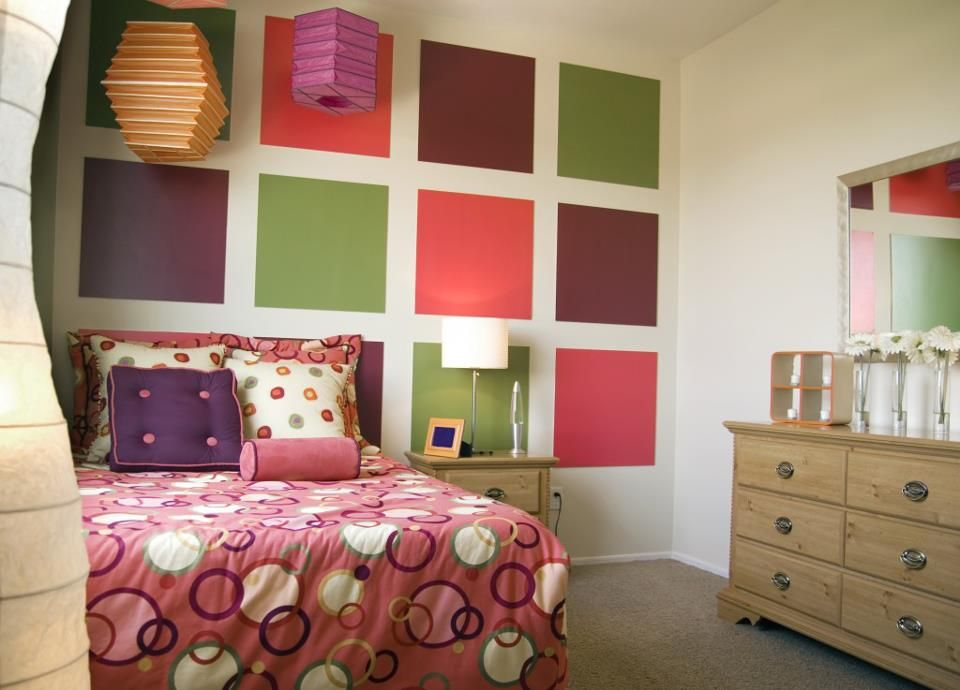 Teen Girl\u0027s Bed Room, Squares on wall Kids Bedroom Ideas