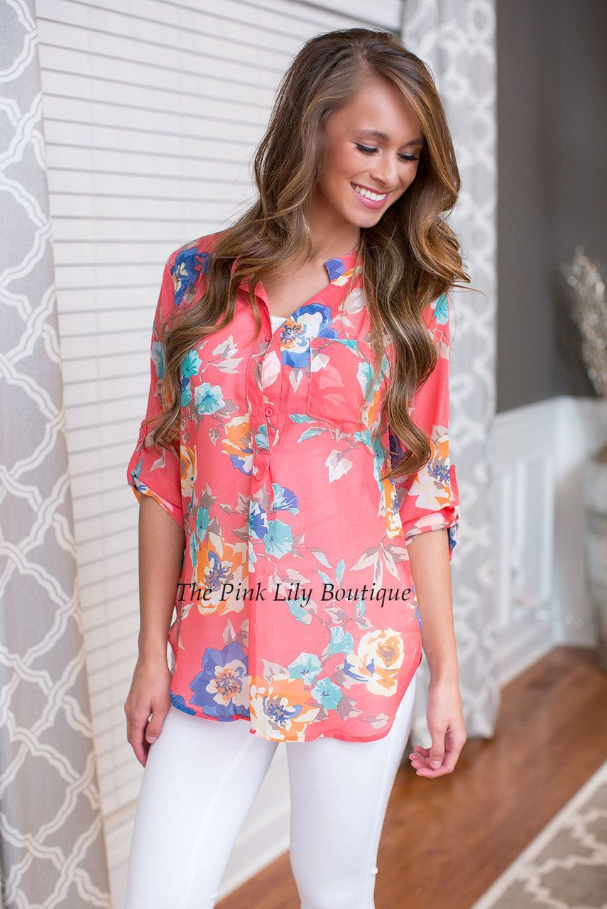 Always On My Mind Coral Blouse - The Pink Lily Boutique   The Pink ...