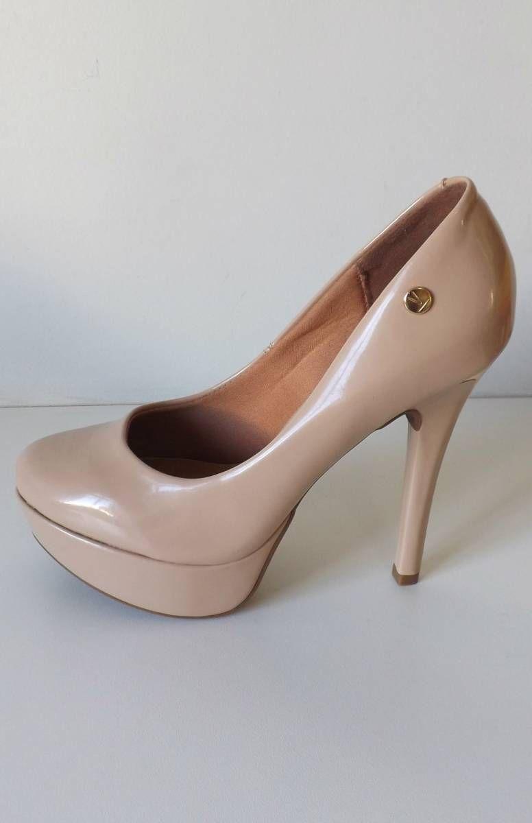 2bc2c5e16 Scarpin Vizzano Salto Alto Meia Pata - Verniz - Nude/dourado - Nº 37 | Sapato  Feminino Vizzano Nunca Usado 30966673 | enjoei