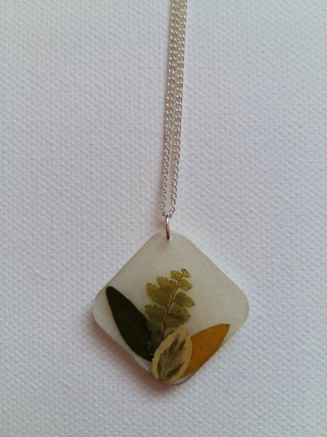 bunch of dried leaves resin necklace / handmade jewelry / nature