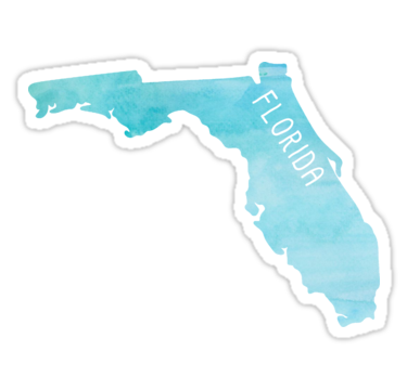 Florida Blue Watercolor Sticker By Jamie Maher In 2021 Florida Blue Watercolor Stickers Blue Watercolor