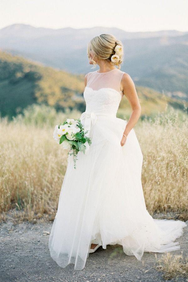 wedding dress Monique Lhuillier sheer top. Carmel Valley, CA uh... i ...