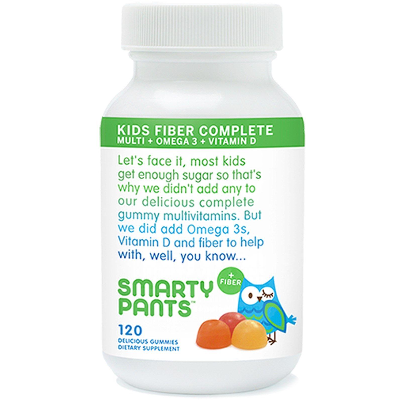 Smartypants Kids Complete Fiber Multi Omega 3 Vitamin D 120 Delicious Gummies Vitamins For Kids Gummy Vitamins Multivitamin