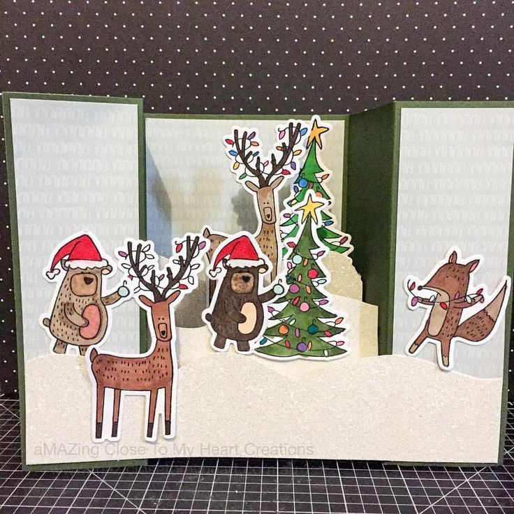 Awesome Close To My Heart Card Making Ideas Part - 6: Christmas Bridge Fold Card With Close To My Heart Beary Christmas  Scrapbooking Stamp Set Paired With