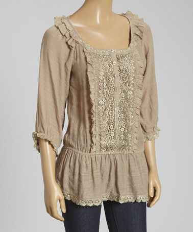 Another great find on #zulily! Tan Embroidered Tunic by IRE #zulilyfinds