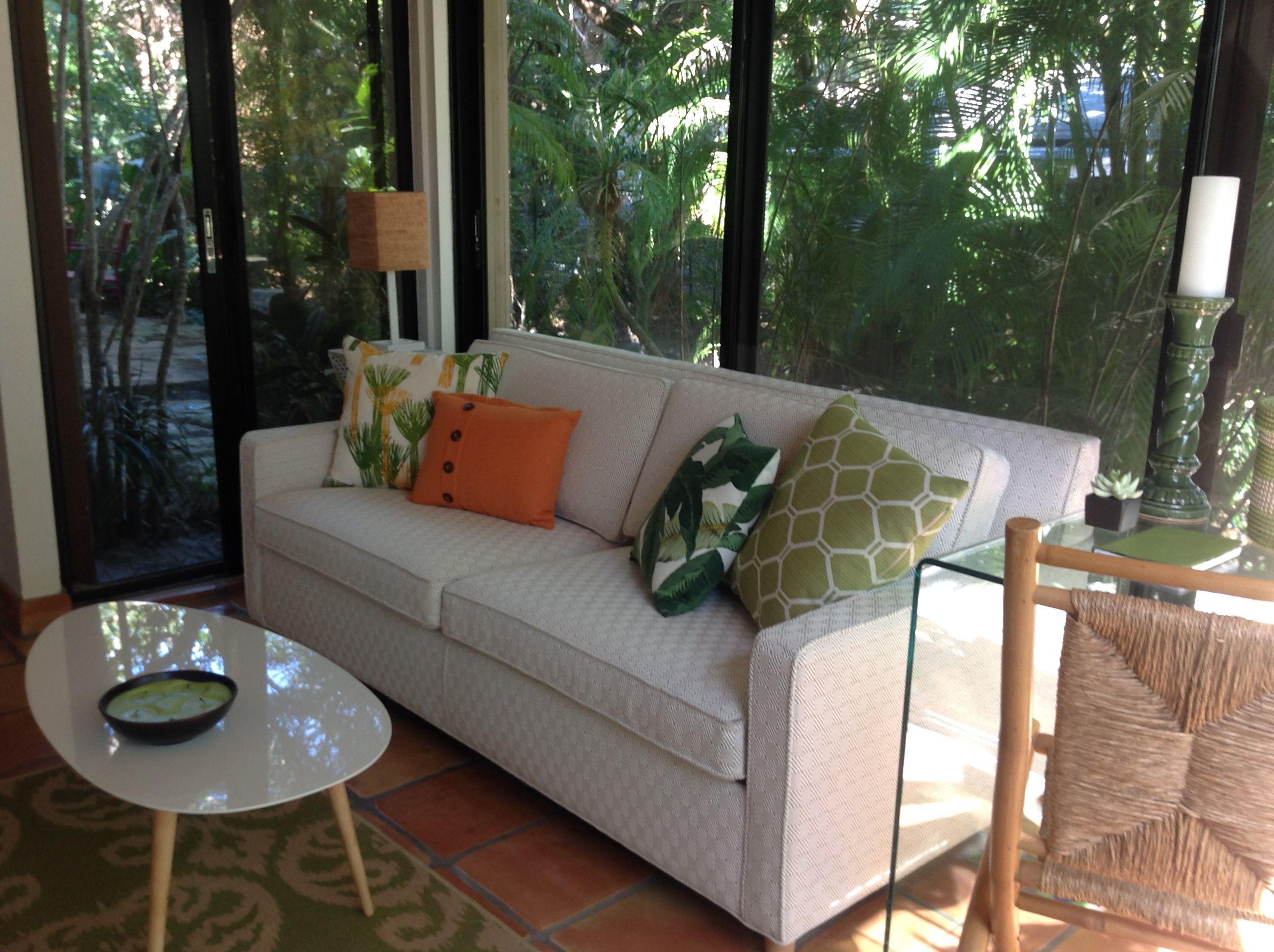 Sunroom in Naples, FL Kellex Sofa, Wisteria Glass Desk  Home