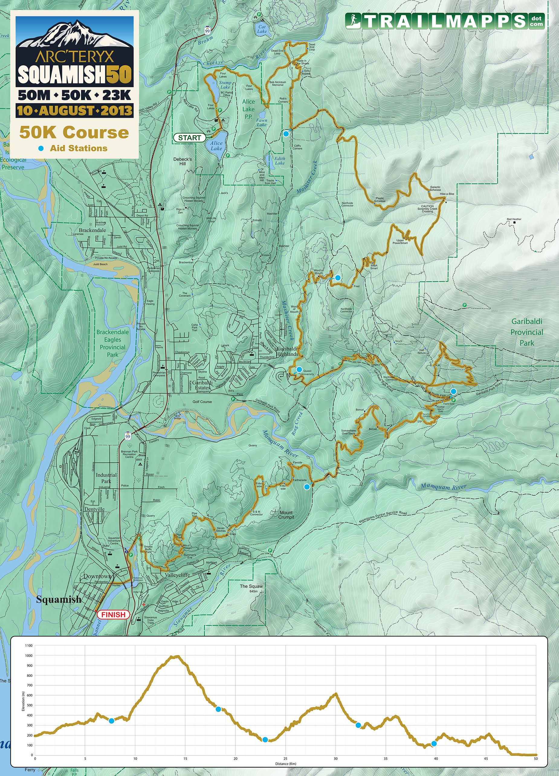 Squamish 50km trail map