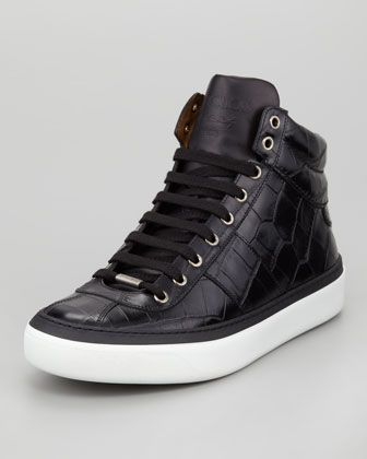 Jimmy Choo Belgravia Croc Stamped Hi Top Mens Sneaker, Black