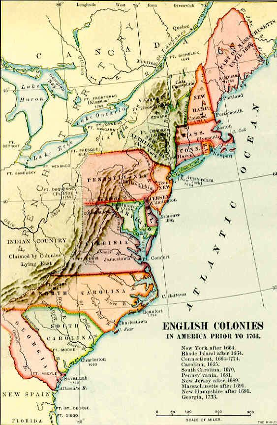 Colonial American Map.American Colonies Pre Revolution History Genealogy Maps