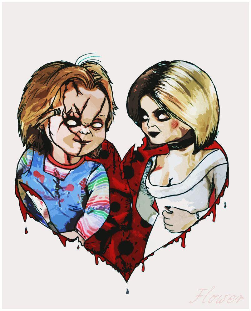 Chucky And Tiffany By Https Www Deviantart Com Silviaflower On Deviantart Chucky Tattoo Bride Of Chucky Horror Movie Art