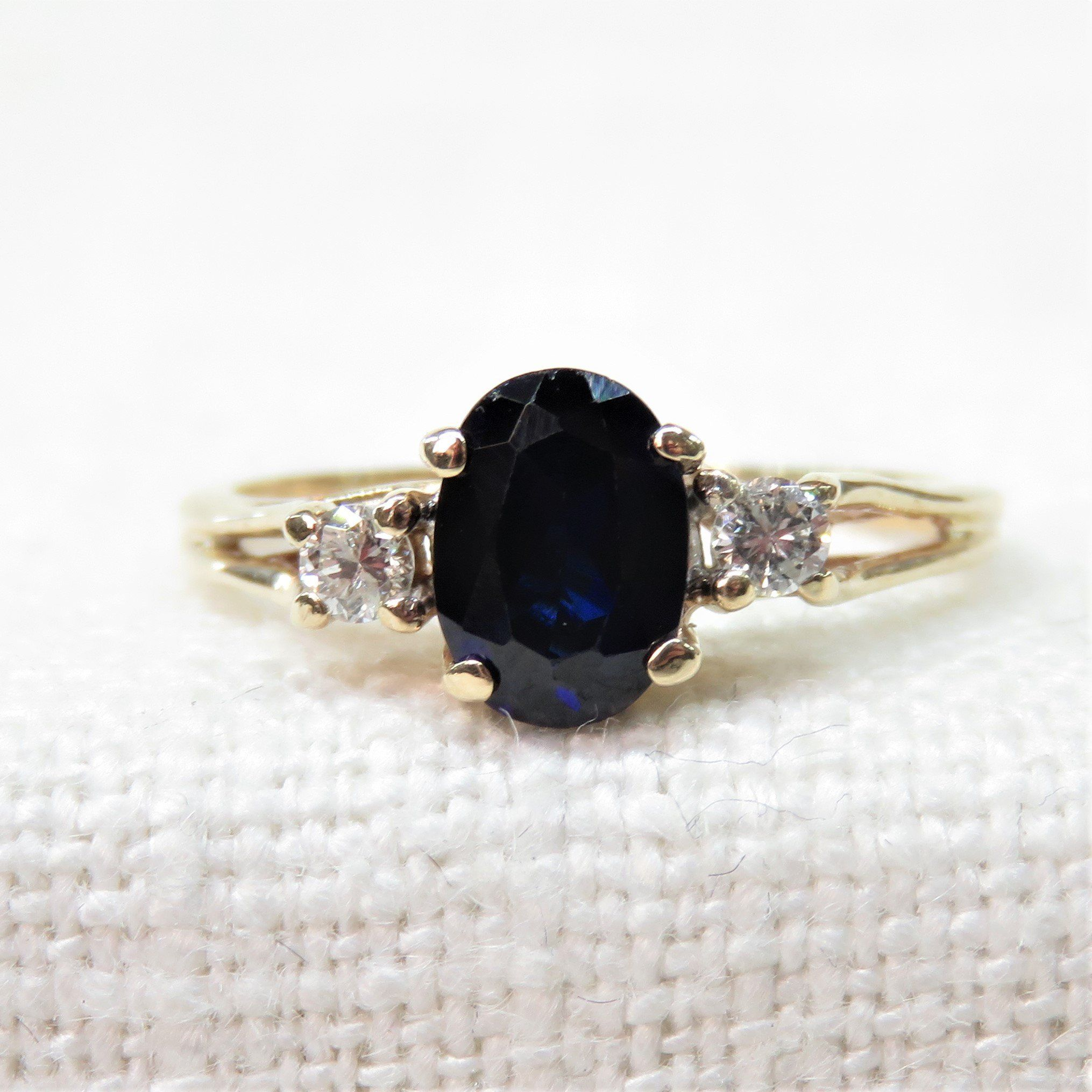 10k Gold Diamond And Sapphire Ring Vintage Sapphire Ring Natural Blue Sapphire Vint Vintage Engagement Rings Sapphire Vintage Sapphire Ring Vintage Sapphire