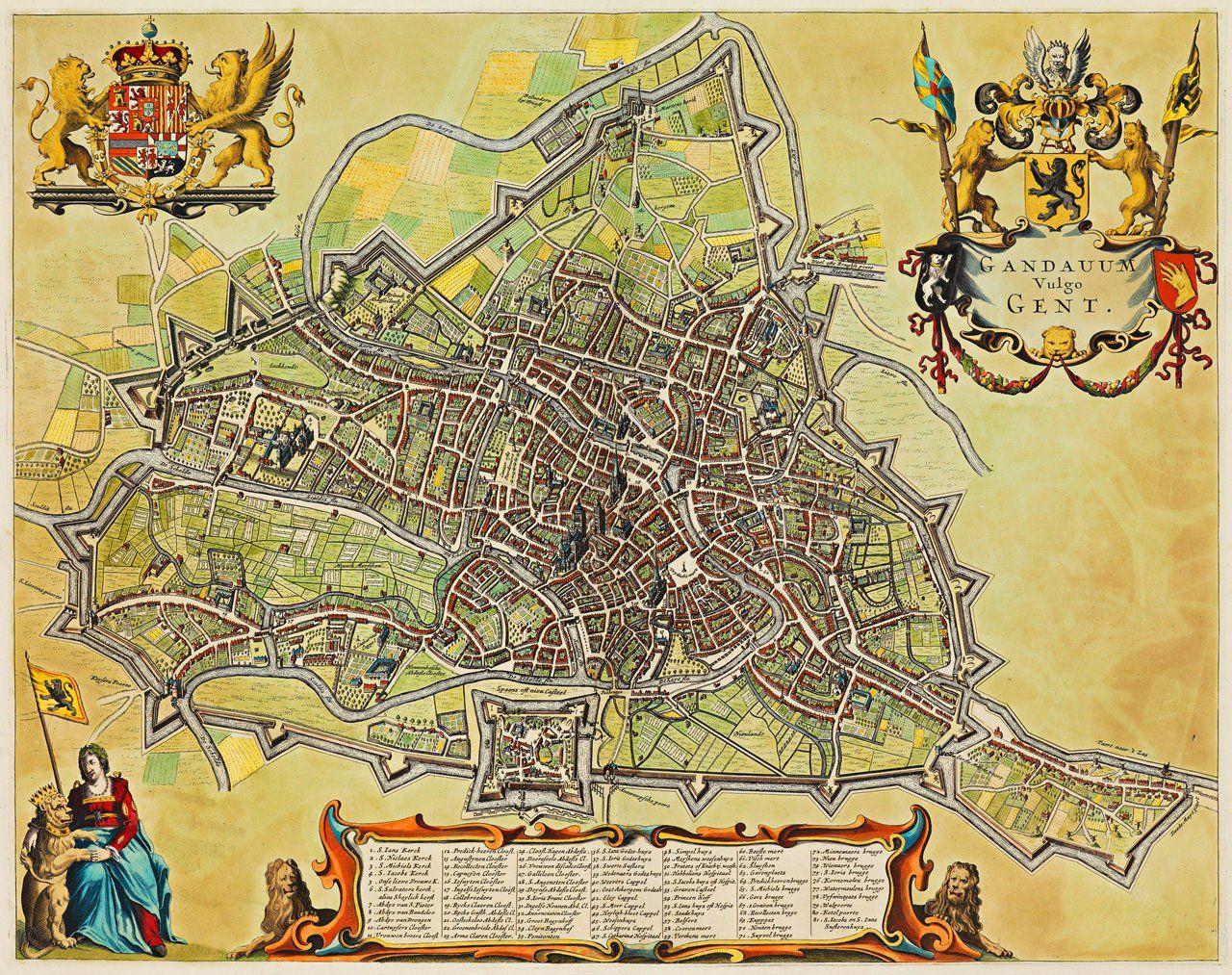 Ghent 1698 Gand Gandavum Vulgo Gent De Wit Old Map 2020