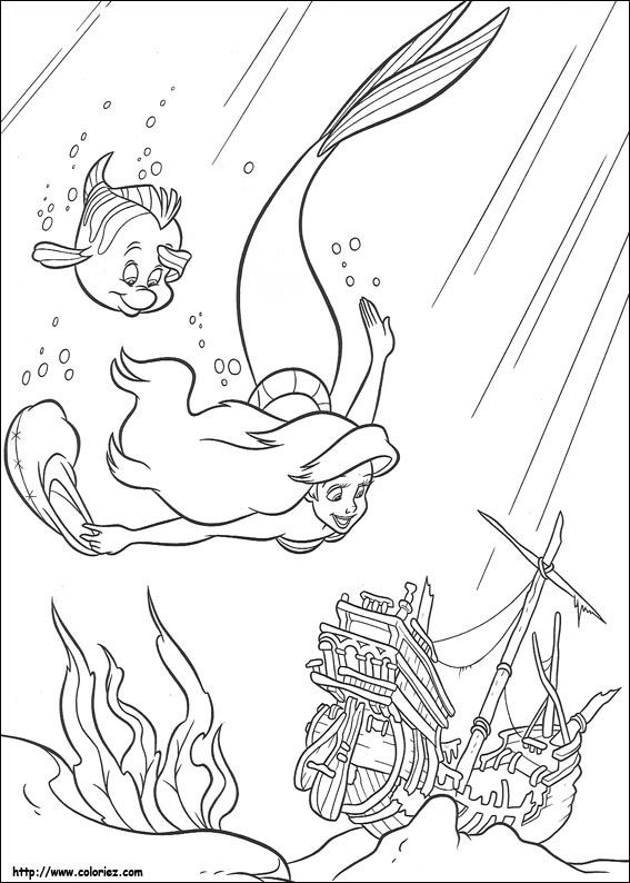 Coloriage La Petite Sirène Coloring Pages Pinterest Mermaid