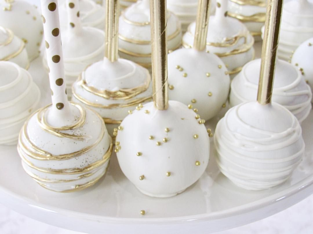 Bridal Cake Pops Engagement Cake Pops Wedding Cake Pops Gold