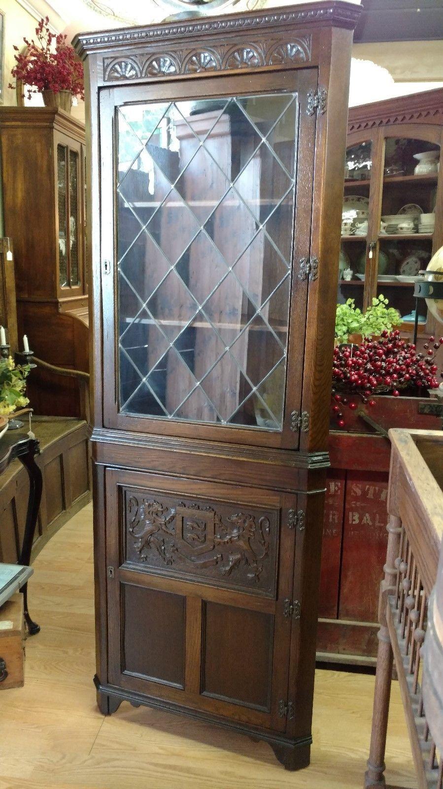 Vintage Dark Oak Corner Cabinet Ethan Allen Leaded Gl C 1950 S Ebay