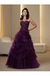 Organza Strapless Sweetheart Intricately Hand-beaded Bodice Ball gown Mother Bride Dress