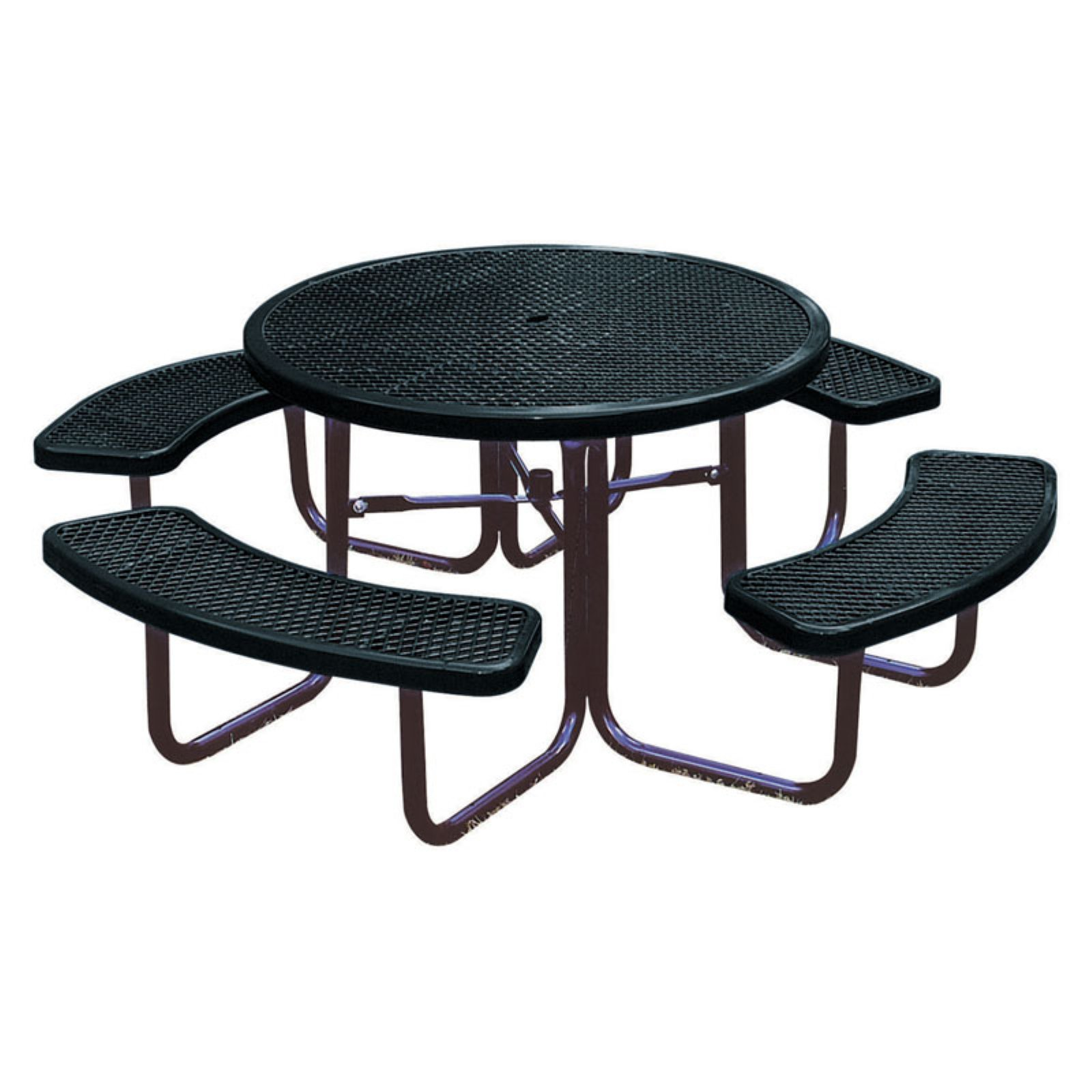 Outdoor Ultraplay 46 In Round Picnic Table Black Round Picnic