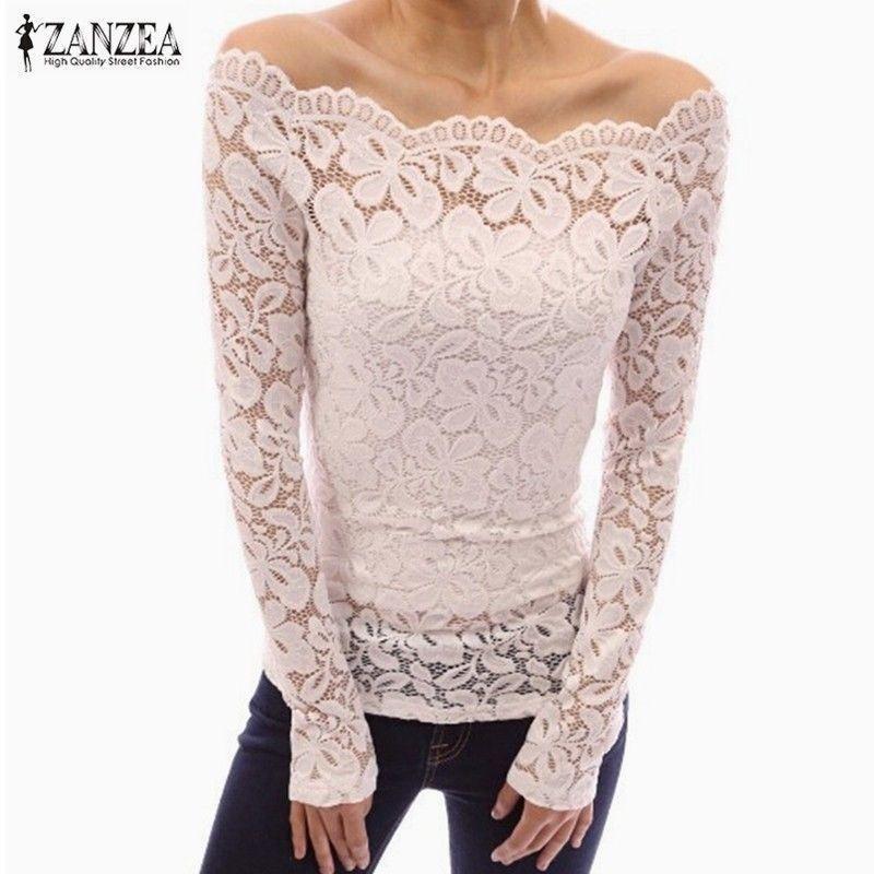 959b720757f Women Blusas Slash Neck Lace Solid Shirts Long Sleeve Slim Casual Tops  Blouse
