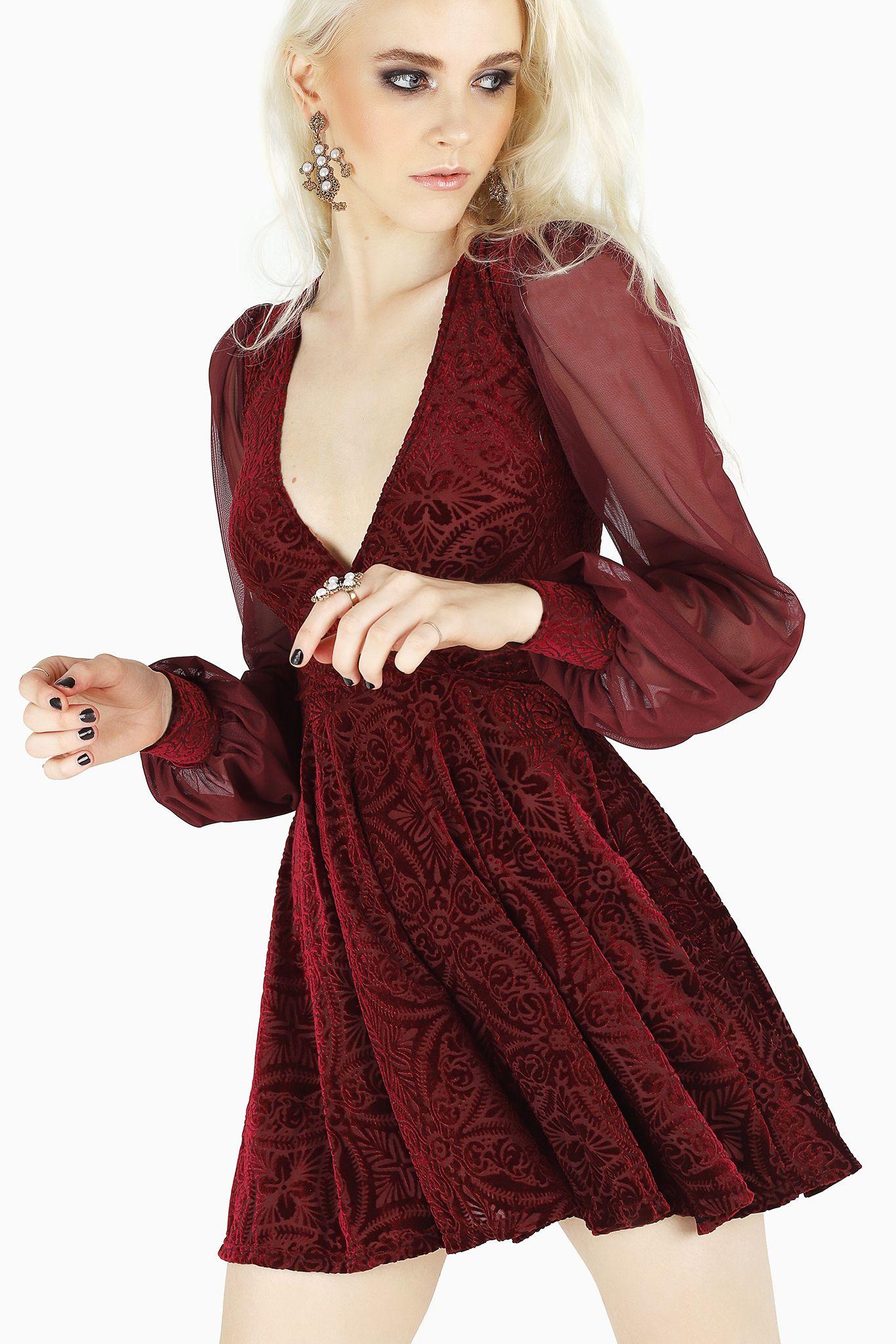Burned Velvet Wine Sheer Romance Dress Limited 110aud By Blackmilk Clothing Dresses Bm Dresses Sleeved Velvet Dress