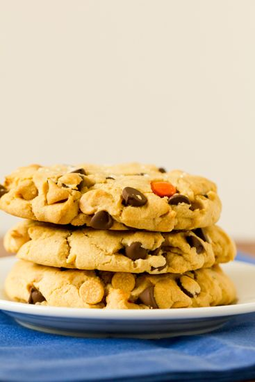 Colossal Reese's Pieces Chocolate Chip Cookies by Brown Eyed Baker