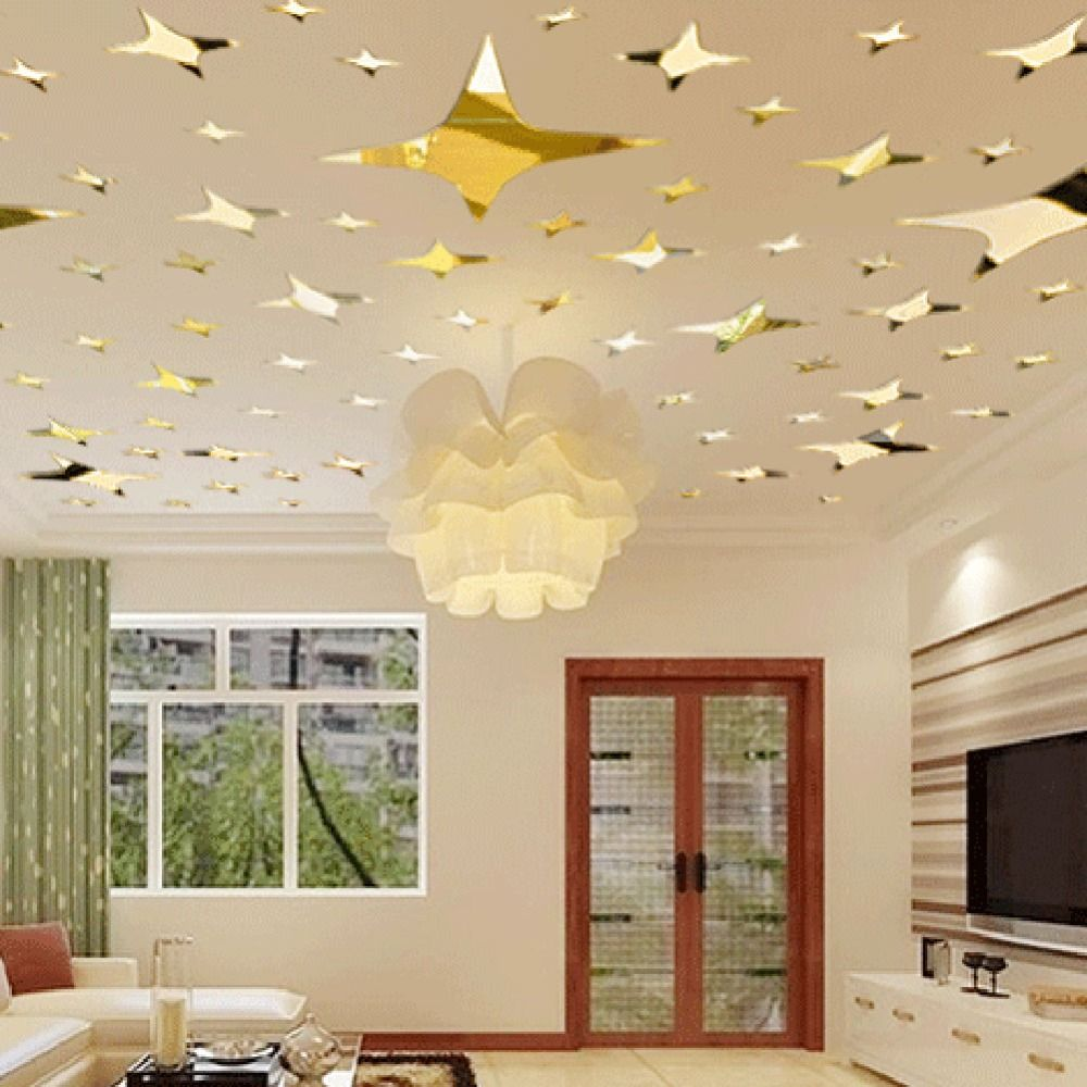39Pcs Acrylic Mirror Wall Sticker Stars Ceiling Decor DIY 3D Wall ...