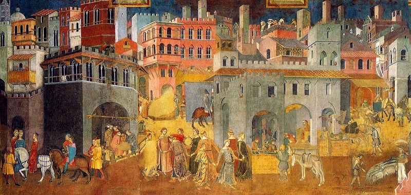 Name: The Allegory of Good and Bad Government / Artist: Ambrogio Lorenzetti / Date: 1338 - 1339 / Material: Fresco / Size: / Location: Palazzo Pubblico, Siena, Italy