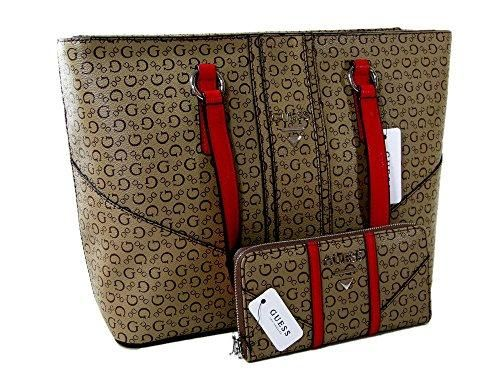 337e320aac New Guess Purse Shoulder Tote   Wallet Set 2 Piece Matching G Logo Mocha  Nichols